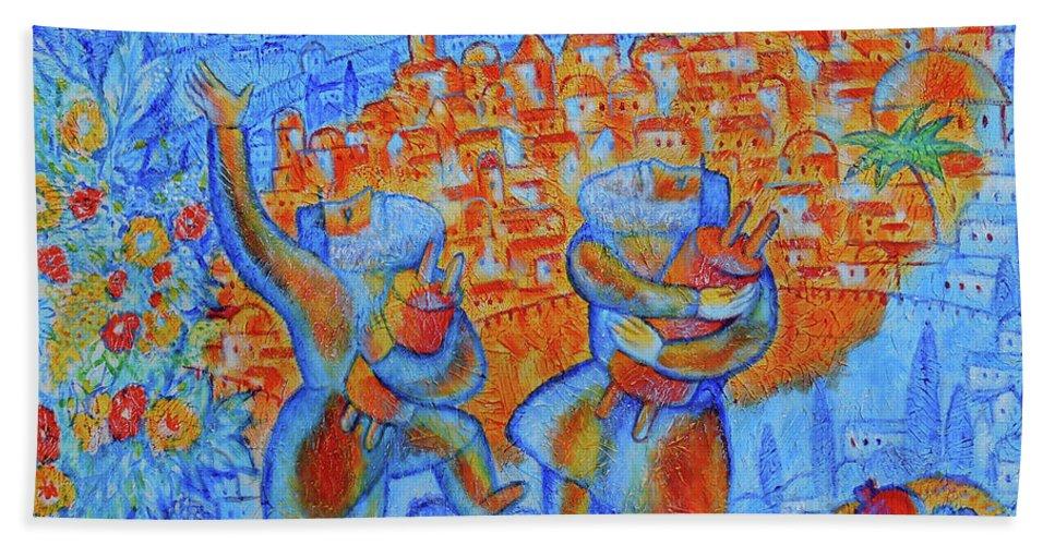 Jewish Art Judaica Jerusalem Religious Religion Israel Torah Bible Simchat Torah Hasidim Bath Sheet featuring the painting Jerusalem Of Gold by Leon Zernitsky