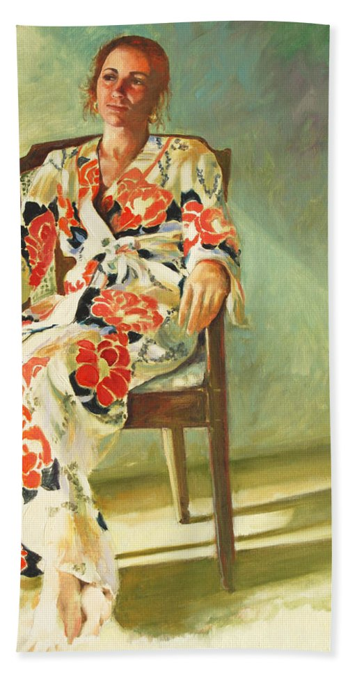 Girl Bath Towel featuring the painting Jess by Rick Nederlof