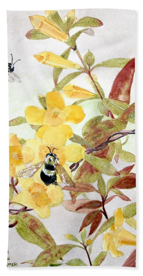 Jasmine Hand Towel featuring the painting Jessamine Bee Mine by Jean Blackmer