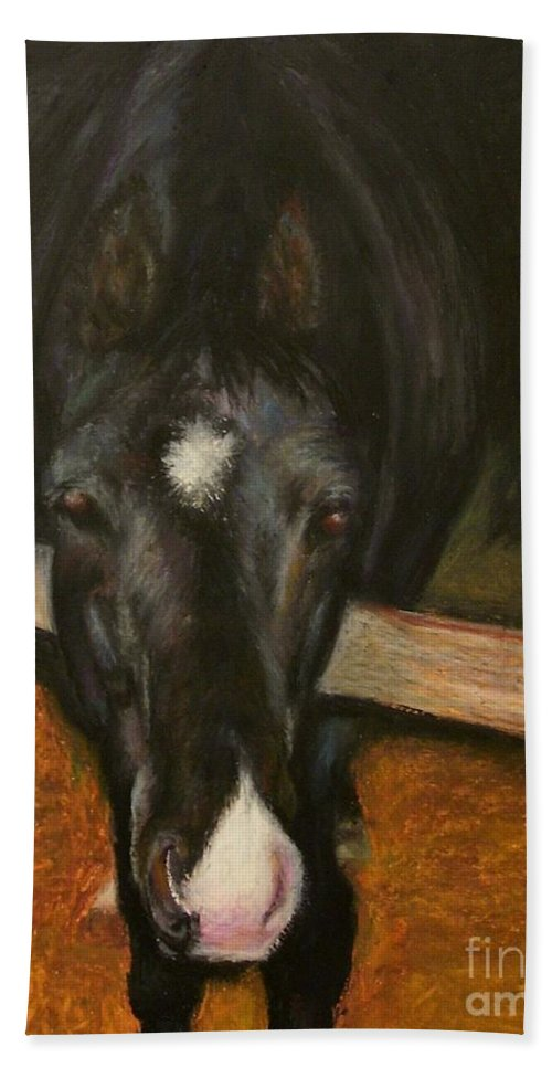 Horse Bath Towel featuring the painting Jesse by Frances Marino