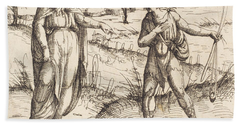 Hand Towel featuring the drawing Jesse Sends David To His Brothers And Saul by Augustin Hirschvogel