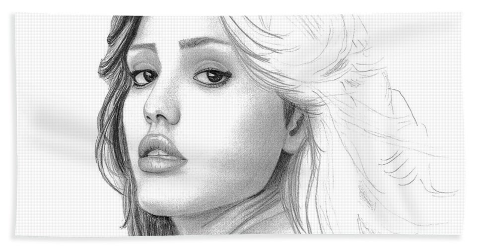 Pencil Bath Sheet featuring the drawing Jessica Alba by Gil Fong