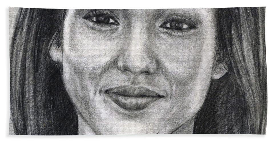 Jessica Albba Hand Towel featuring the drawing Jessica Alba Portrait by Alban Dizdari