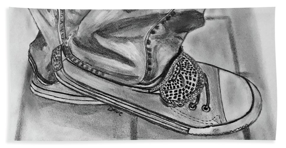 Sneakers Graphite Pencil Drawing Bath Sheet featuring the drawing Jessicas Sneakers by David Reniere