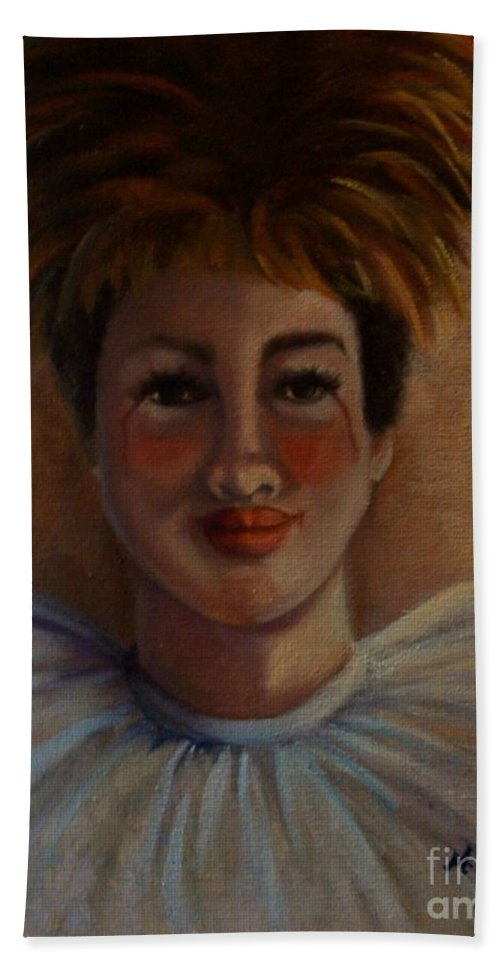 Portrait Hand Towel featuring the painting Jester Justah Sistah by Marlene Book