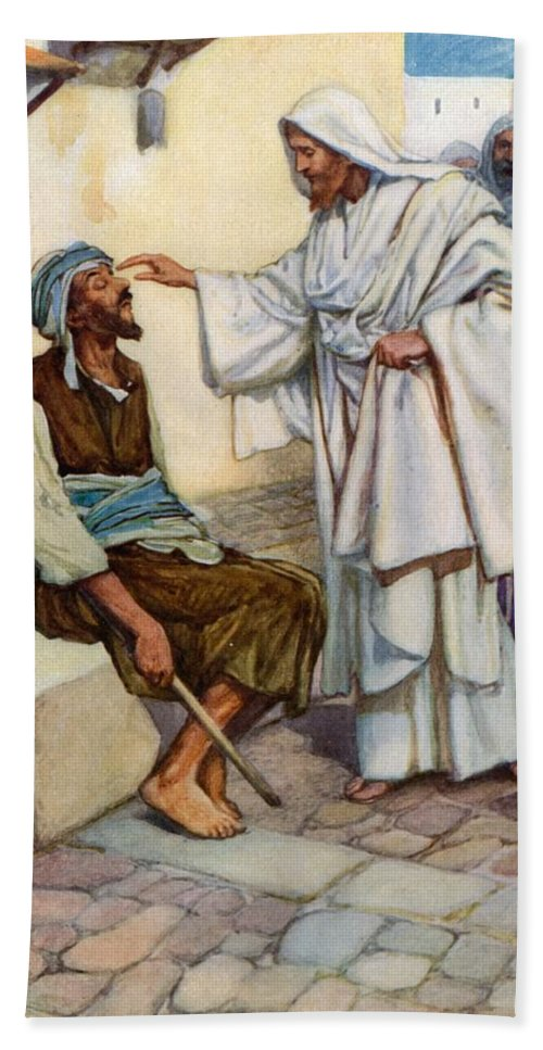 Bible; Biblical; Stories; Jesus; Blind Man Hand Towel featuring the painting Jesus And The Blind Man by Arthur A Dixon