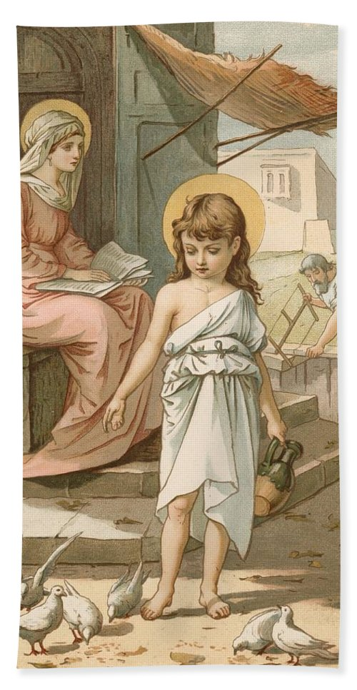 Bible; Jesus; Child; Boy; Playing; Doves; Birds; Joseph; Work; Carpenter; Carpentry; Virgin Mary; Reading; Yard; Feeding; Sentimental; Sentimentality Bath Sheet featuring the painting Jesus As A Boy Playing With Doves by John Lawson