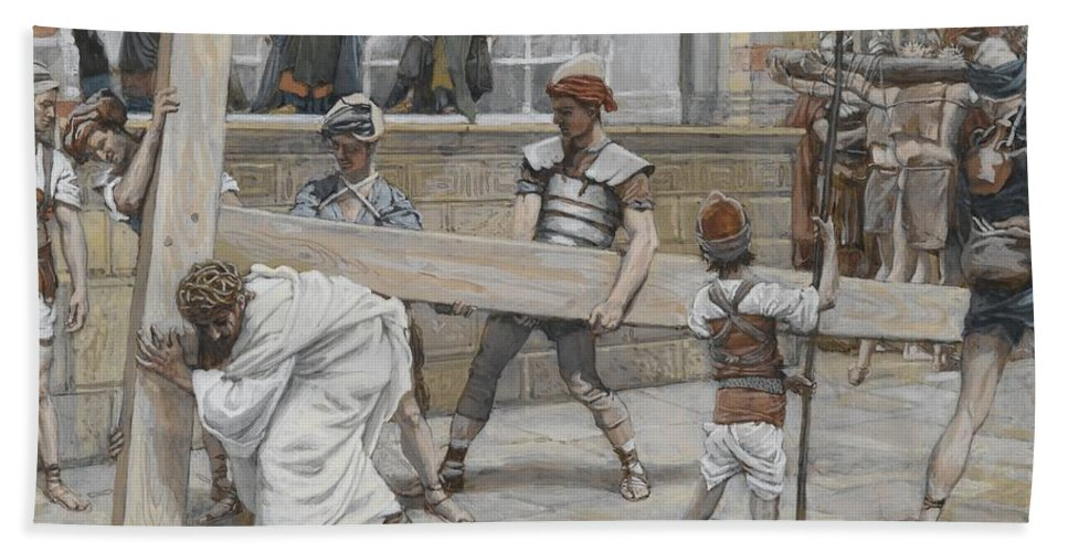 Tissot Bath Sheet featuring the painting Jesus Bearing The Cross by Tissot