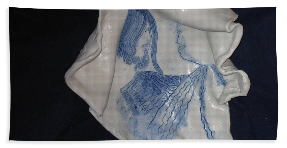 Jesus Hand Towel featuring the ceramic art Jesus Christ And Mother Mary by Gloria Ssali