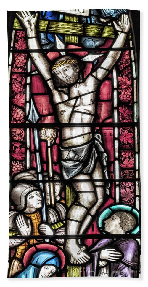 Glasgow Bath Sheet featuring the photograph Jesus Christ Crucifixtion Stained Glass by Antony McAulay