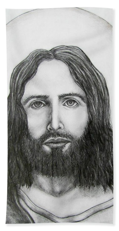 Michael Hand Towel featuring the drawing Jesus Christ by Michael TMAD Finney