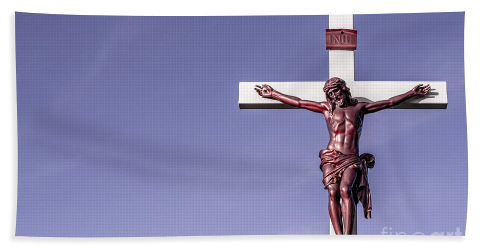 Jesus Hand Towel featuring the photograph Jesus Crucifix Against The Sky by Gary Whitton