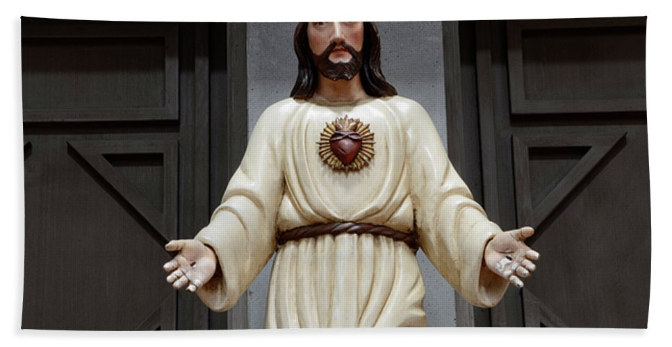 Architecture Bath Sheet featuring the photograph Jesus Figure by Bob Christopher
