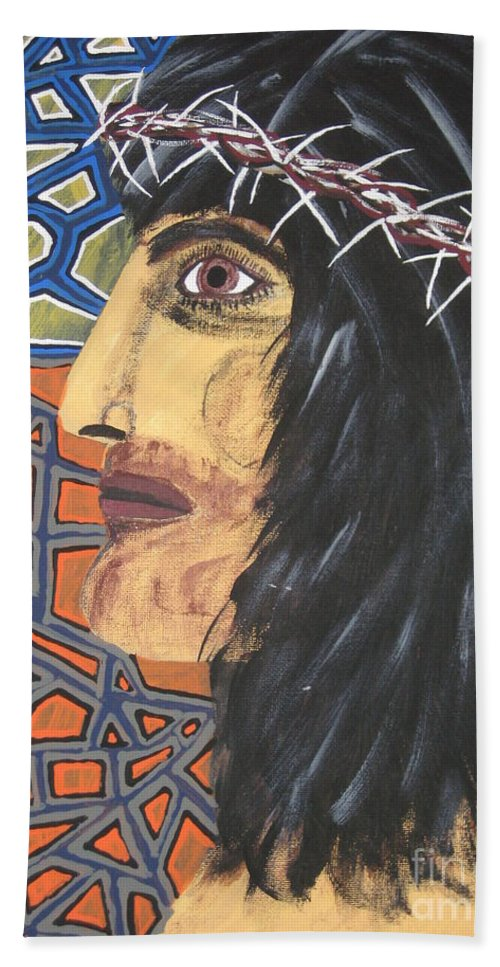 Portrait Hand Towel featuring the painting Jesus by Jeffrey Koss
