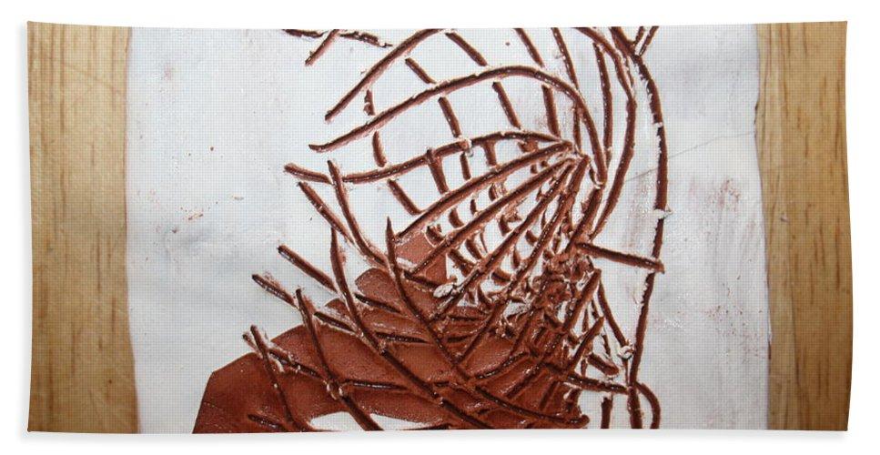 Jesus Bath Sheet featuring the ceramic art Jesus Of Gethsemane - Tile by Gloria Ssali