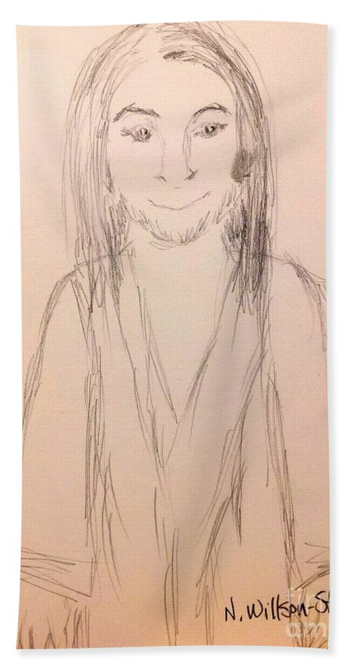 Jesus Hand Towel featuring the drawing Jesus, Rough Sketch by N Willson-Strader