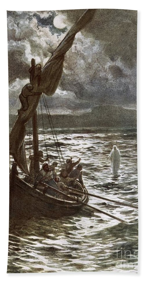 Bible; Jesus Christ; Walking On The Sea; Walking On Water; Sea Of Galilee; Boat; Sailing; Overtaking His Disciples Bath Sheet featuring the painting Jesus Walking Upon The Sea by William Brassey Hole