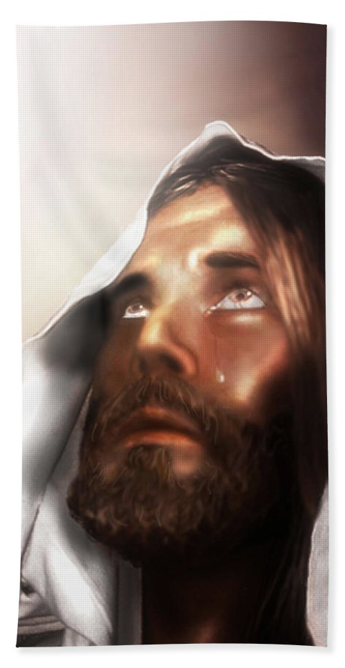 Jesus Hand Towel featuring the mixed media Jesus Wept by Mark Spears