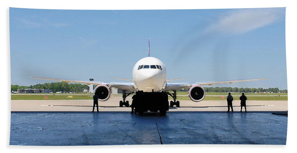 Jet Hand Towel featuring the photograph Jet Aircraft Rendering. by Robert Ponzoni