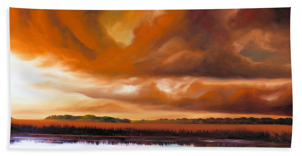 Clouds Hand Towel featuring the painting Jetties On The Shore by James Christopher Hill