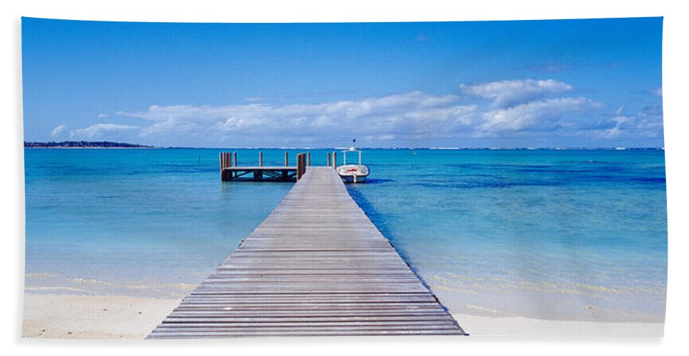 Photography Bath Sheet featuring the photograph Jetty On The Beach, Mauritius by Panoramic Images