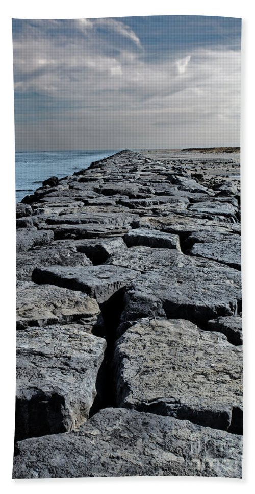 Nature Bath Sheet featuring the photograph Jetty Over The Coast by Tom Gari Gallery-Three-Photography