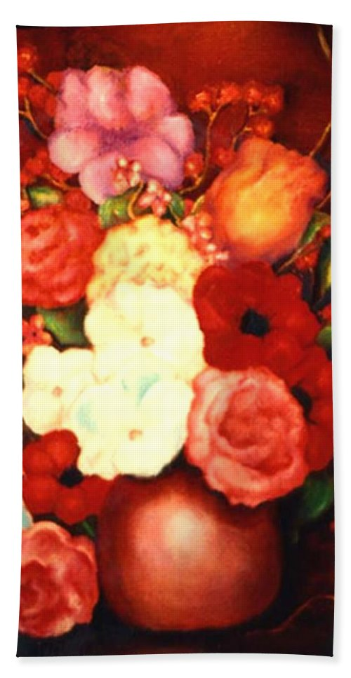 Flowers Hand Towel featuring the painting Jewel Flowers by Jordana Sands
