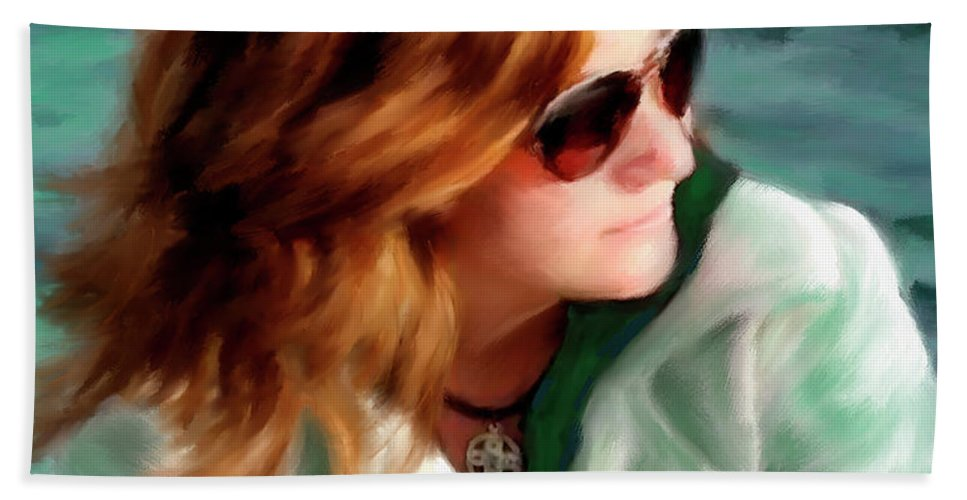 Red Head Bath Sheet featuring the painting Jewel Of Contemplation by Colleen Taylor