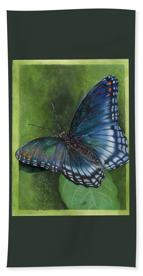 Insects Hand Towel featuring the mixed media Jewel Tones by Barbara Keith