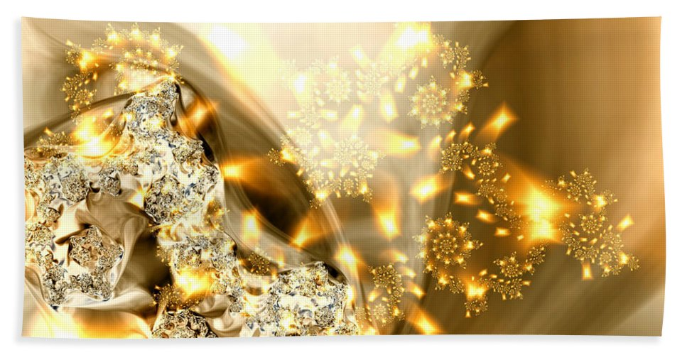 Gold And Silver Bath Sheet featuring the digital art Jewels And Satin by Claire Bull