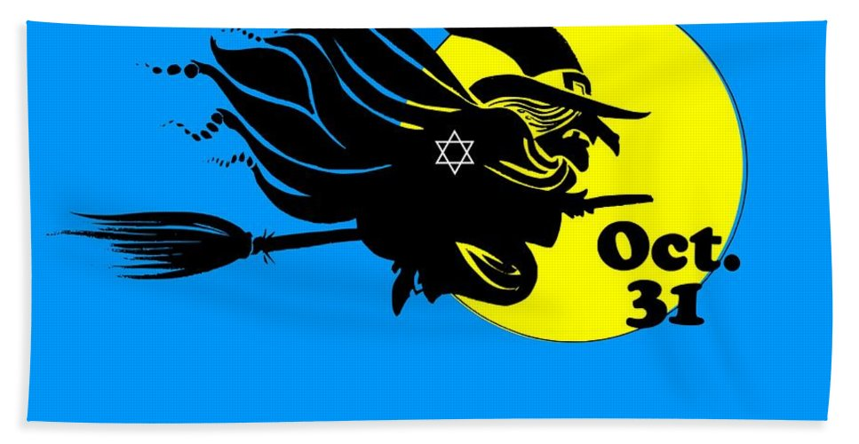 Religion Bath Sheet featuring the digital art Jewish Halloween Witch by Frederick Holiday