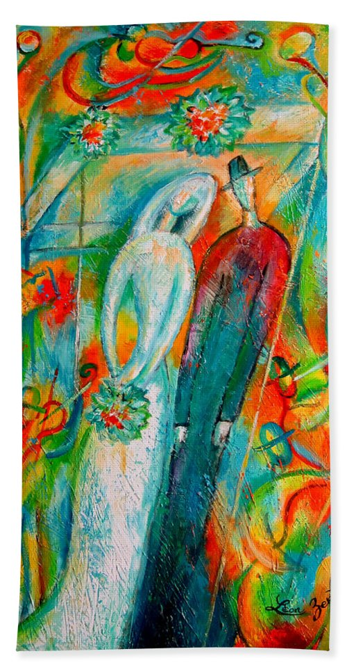 Bride Ceremony Color Groom Illustration Jewish Matrimony Medium Group Of People Pole Reception Religious Setup Tent Union Unrecognizable Wedding Whitemusicians Chuppa Decorative Painting Abstract Art Bath Towel featuring the painting Jewish Wedding by Leon Zernitsky