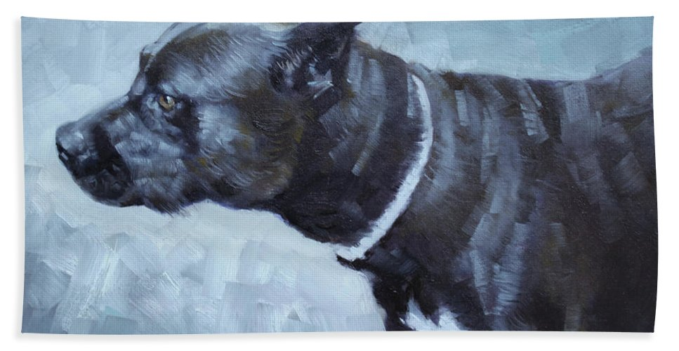Bulldog Hand Towel featuring the painting Jiaculy by Ylli Haruni