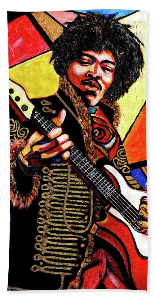 Everett Spruill Bath Towel featuring the mixed media Jimi Hendrix by Everett Spruill