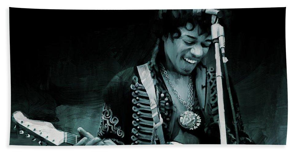 Jimi Hendrix Bath Towel featuring the painting Jimi Hendrix by Gull G