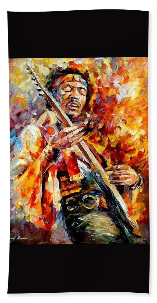 Music Bath Towel featuring the painting Jimi Hendrix by Leonid Afremov