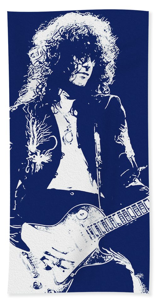 Jimmy Page Portrait Bath Towel featuring the painting Jimmy Page In Blue Portrait by Andrea Mazzocchetti