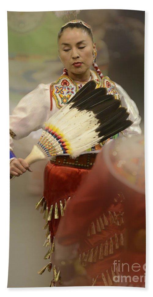 Pow Wow Bath Sheet featuring the photograph Pow Wow Jingle Dancer 1 by Bob Christopher