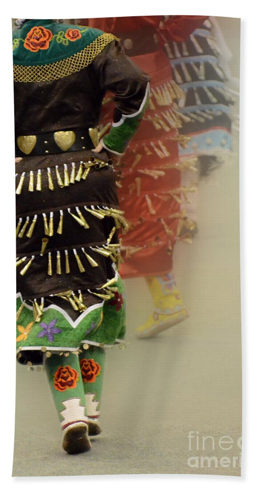 Pow Wow Hand Towel featuring the photograph Pow Wow Jingle Dancers 2 by Bob Christopher