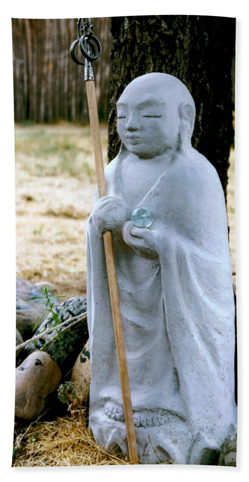 Jizo Hand Towel featuring the photograph Jizo Bodhisattva - Children's Protector by Dagmar Batyahav