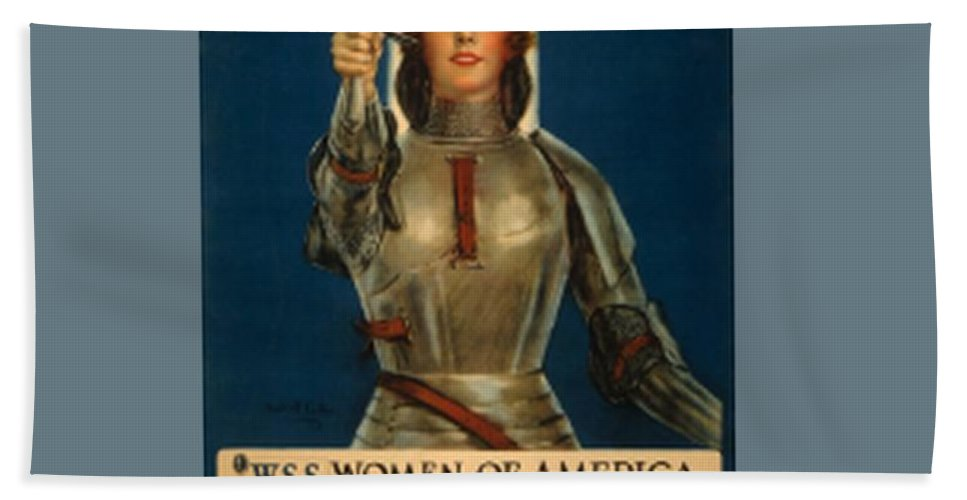 Joan Of Arc Bath Sheet featuring the digital art Joan Of Arc World War 1 Poster by Frederick Holiday