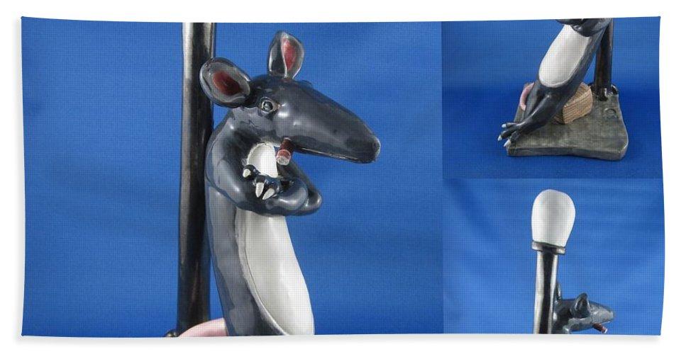 Rat Hand Towel featuring the sculpture Joe Cool Rat by Bob Dann