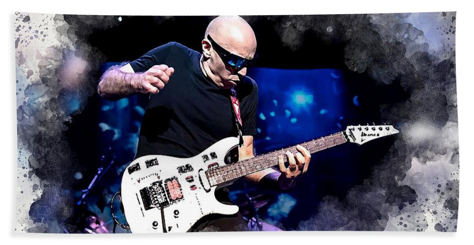 Joe Satriani Bath Sheet featuring the digital art Joe Satriani by Karl Knox Images
