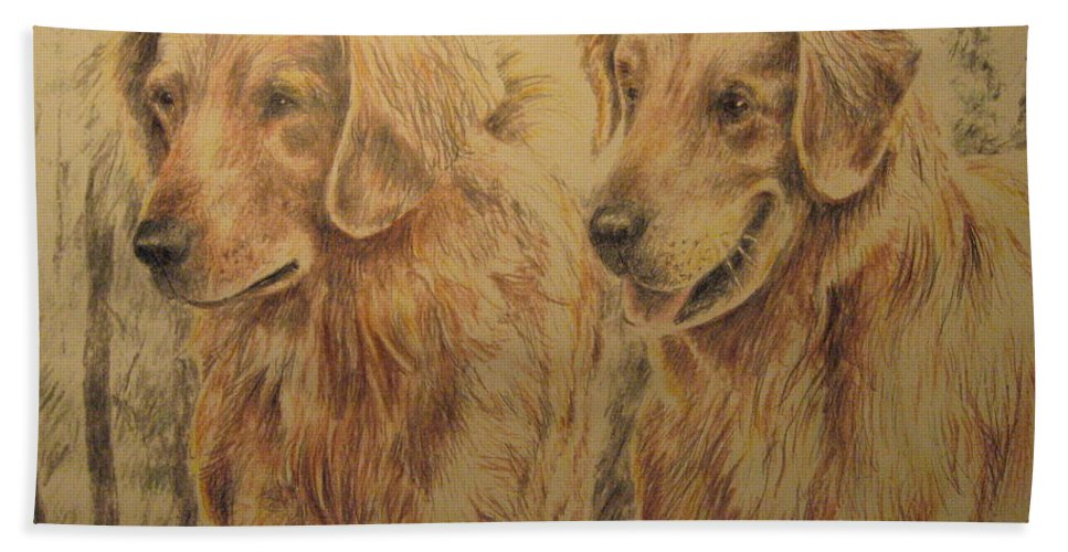 Dogs Hand Towel featuring the drawing Joe's Dogs by Larry Whitler