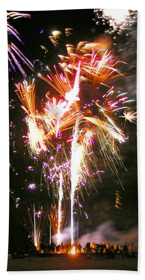 Joe Hand Towel featuring the photograph Joe's Fireworks Party 2 by Charles Harden