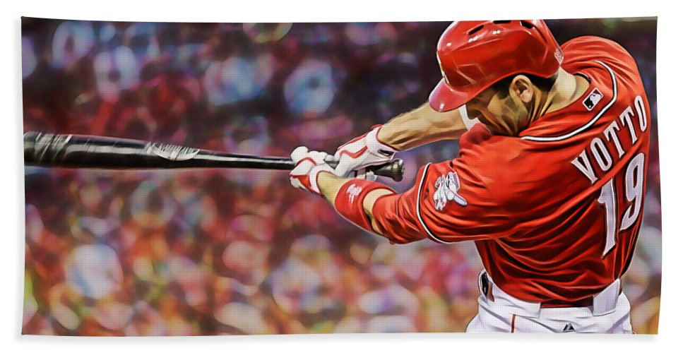 Joey Votto Hand Towel featuring the mixed media Joey Votto Baseball by Marvin Blaine