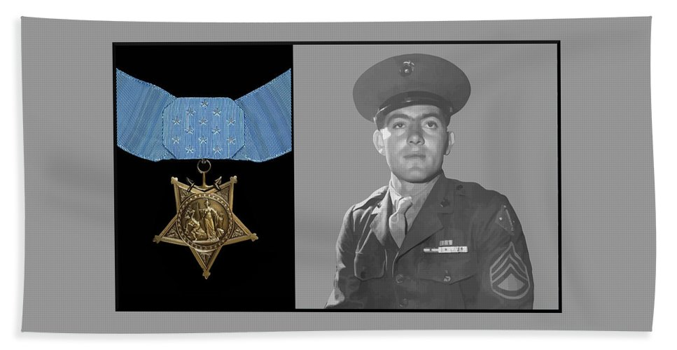 Medal Of Honor Hand Towel featuring the painting John Basilone And The Medal Of Honor by War Is Hell Store