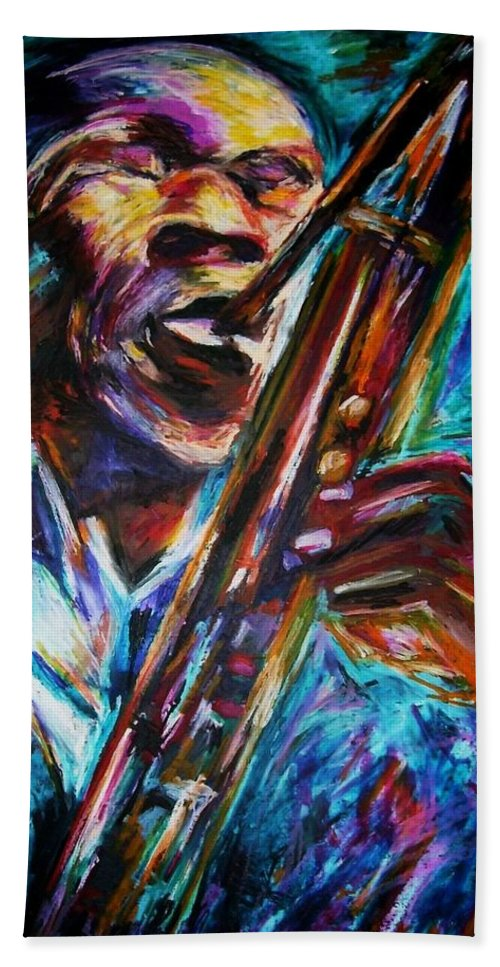 Jazz Hand Towel featuring the painting John Coltrane by Frances Marino