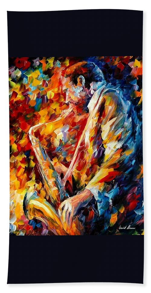 Music Hand Towel featuring the painting John Coltrane by Leonid Afremov