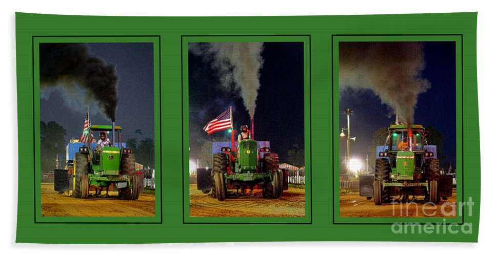 John Bath Towel featuring the photograph John Deere Tractor Pull Poster by Olivier Le Queinec